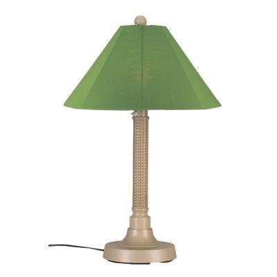 Bahama Weave 34 in. Mojavi Outdoor Table Lamp with Palm Shade