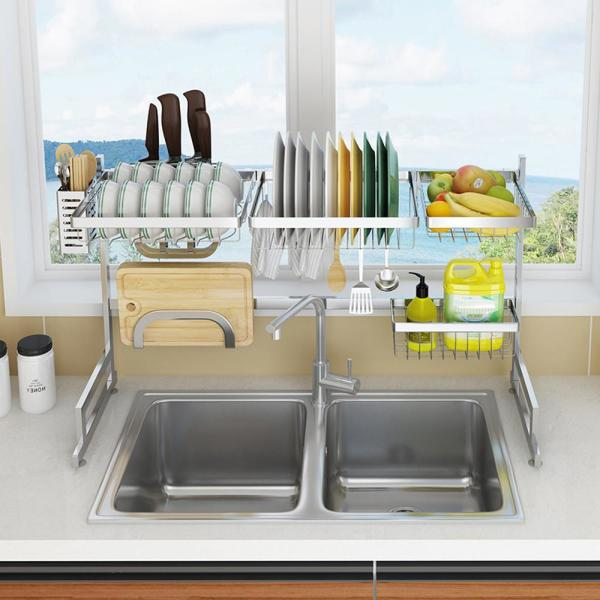 Emoderndecor Avery 34 6 In Stainless Steel Standing Dish Rack Fsdr 88 Bn The Home Depot