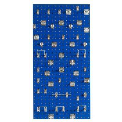 (2) 24 in. x 24 in. x 9/16 in. Blue Epoxy 18-Gauge Steel Square Hole Pegboards with Assortment (46-Piece)
