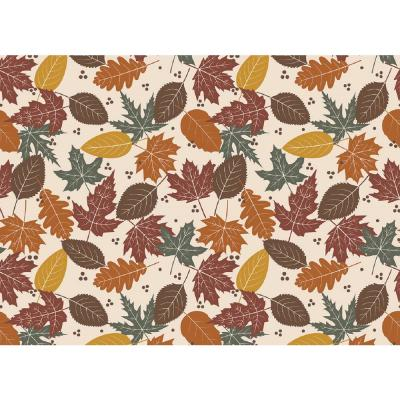 MHF Home Brown and Orange Fall Leaves 18 in. W x 13 in. L Polypropylene Placemat Set (4-Pack)