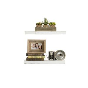 True Floating 5.5 in x 20 in x 2 in White Pine Floating Decorative Wall Shelf with Brackets (Set of 2)