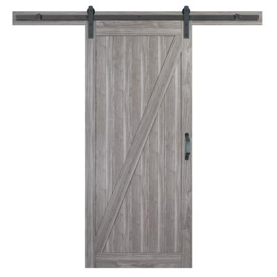 36 in. x 84 in. Z-Bar Ash Gray Finished Composite Interior Sliding Barn Door Slab with Hardware Kit