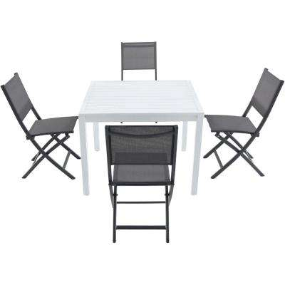 Palermo 5-Piece Aluminum Outdoor Dining Set with 4-Sling Folding Chairs and a 38 in. Square Dining Table