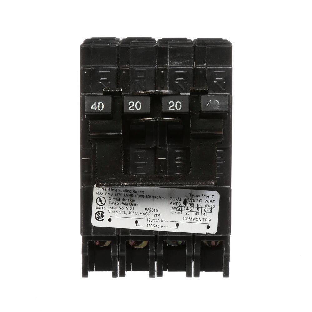 40/20 Amp Double-Pole Type MP-T Quad Plug-In Circuit Breaker