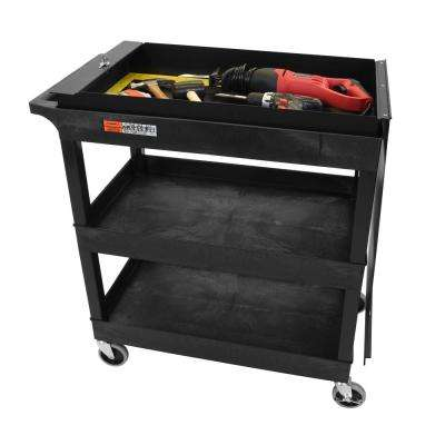 EC 35.25 in. Utility Cart with Locking Lid in Black