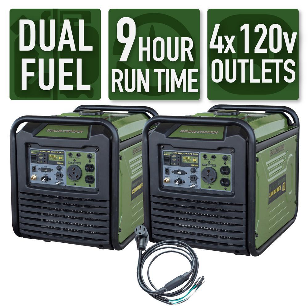Sportsman 7000-Watt/6000-Watt Dual Fuel Powered Recoil Start Portable Digital Inverter Generator Kit with 50 Amp Parallel Cable