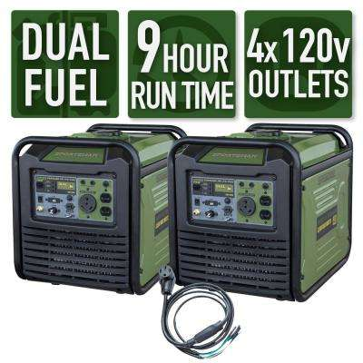 7,000-Watt/6,000-Watt Dual Fuel Powered Recoil Start Portable Digital Inverter Generator Kit with 50 Amp Parallel Cable