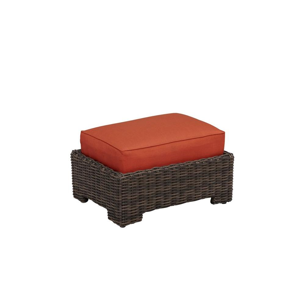 Northshore Patio Ottoman with Cinnabar Cushion -- CUSTOM