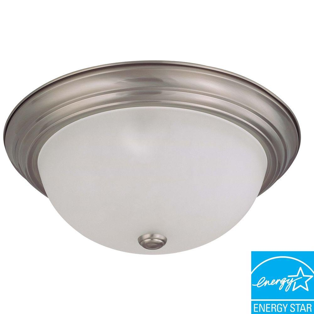 Green Matters 3-Light Flush-Mount Brushed Nickel Dome