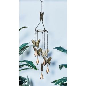 Gold Iron Butterflies Wind Chime by