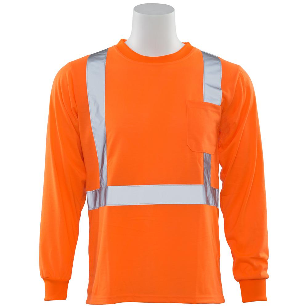 ERB 9602S LG Class 2 Long Sleeve Hi Viz Orange Unisex Poly Jersey T-Shirt