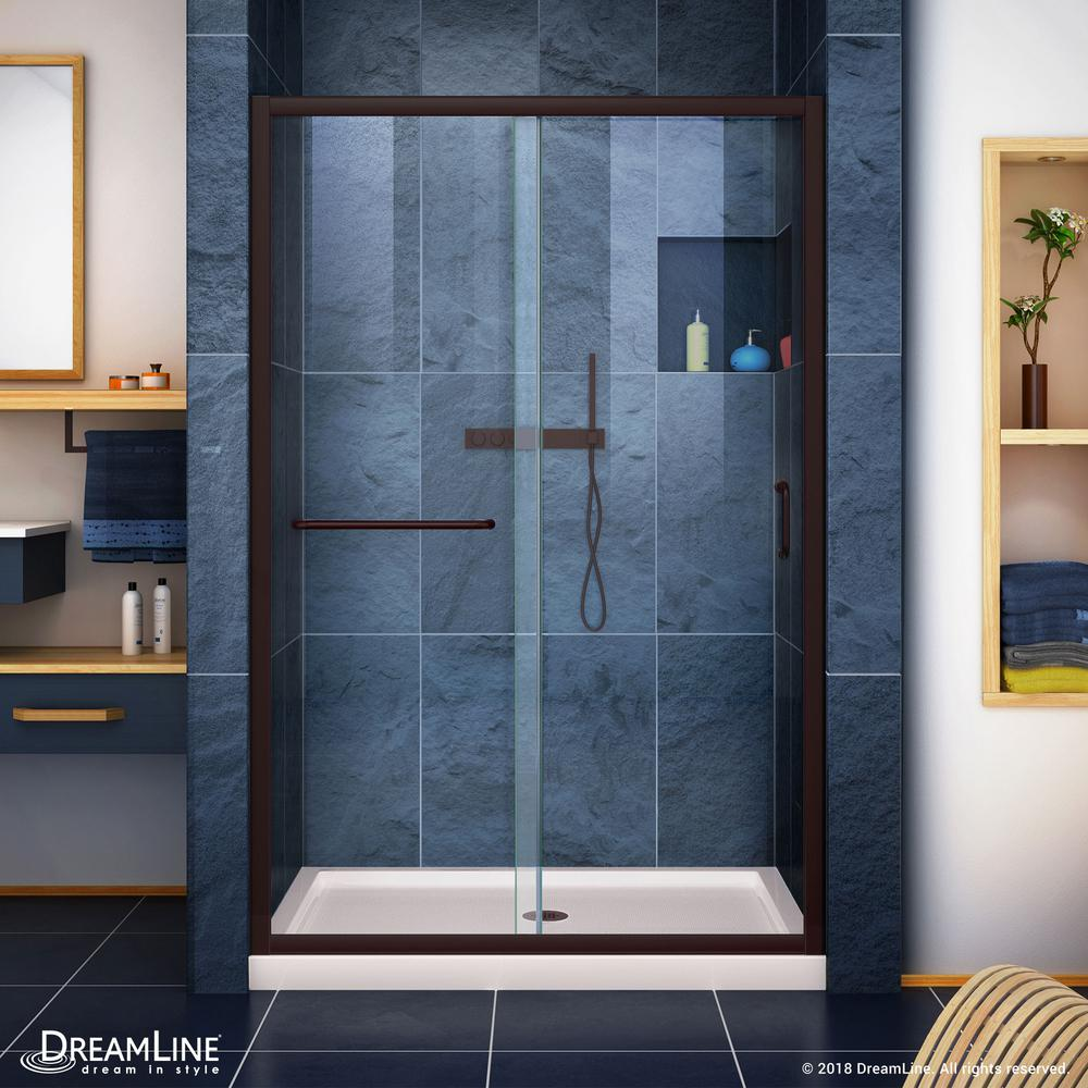 DreamLine Infinity-Z 36 in. x 48 in. Semi-Frameless Sliding Shower Door in Oil Rubbed Bronze with Center Drain Base in Biscuit