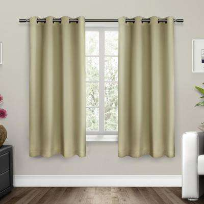 Sateen 52 in. W x 63 in. L Woven Blackout Grommet Top Curtain Panel in Linen (2 Panels)
