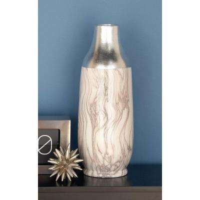 19 in. Silver and Gray Marble Paneled Decorative Bottle-Shaped Vase