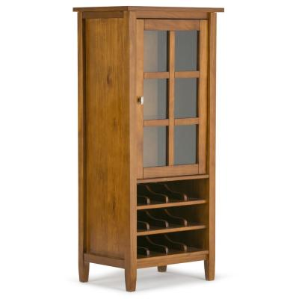 Warm Shaker 23 in. Wide Light Golden Brown 12-Bottle Solid Wood Rustic High Storage Wine Rack Cabinet