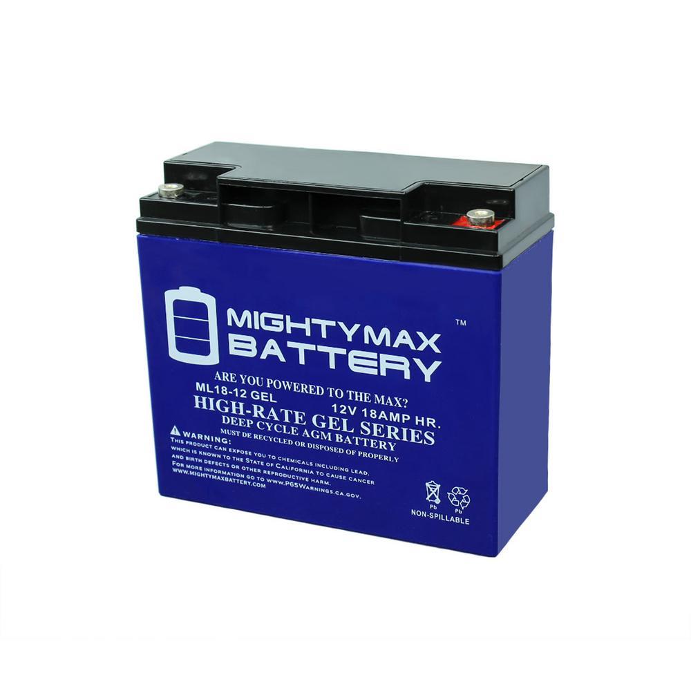 12-Volt 18 Ah Rechargeable GEL Sealed Lead Acid (SLA) Battery