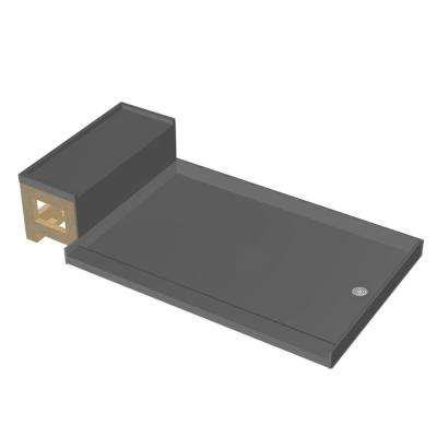 37 in. x 72 in. Single Threshold Shower Base in Gray and Bench Kit with Right Drain