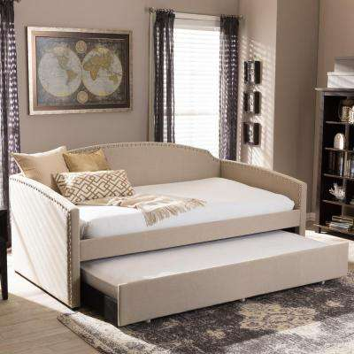 lanny beige fabric upholstered twin size daybed