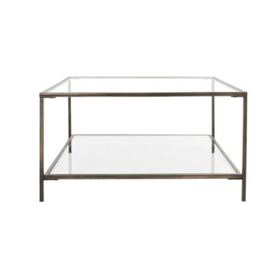 Bella Square Antique Bronze Metal and Glass Coffee Table (34 in. W x 18 in. H)