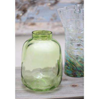 11 in. Bumpy Smoked Moss Green Glass Decorative Vase