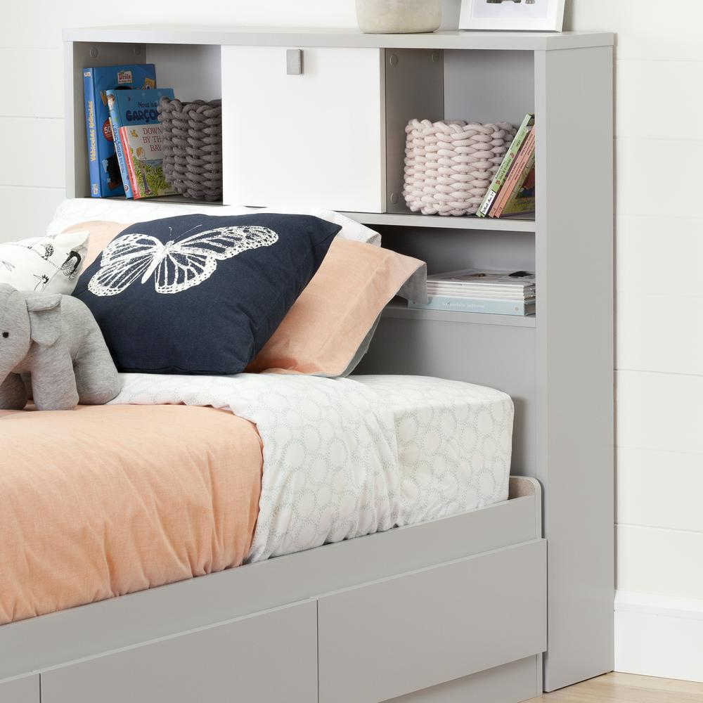 Cookie Soft Gray And Pure White Twin Kids Headboard By South S