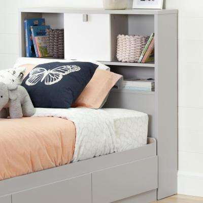 Cookie Soft Gray and Pure White Twin Kids Headboard