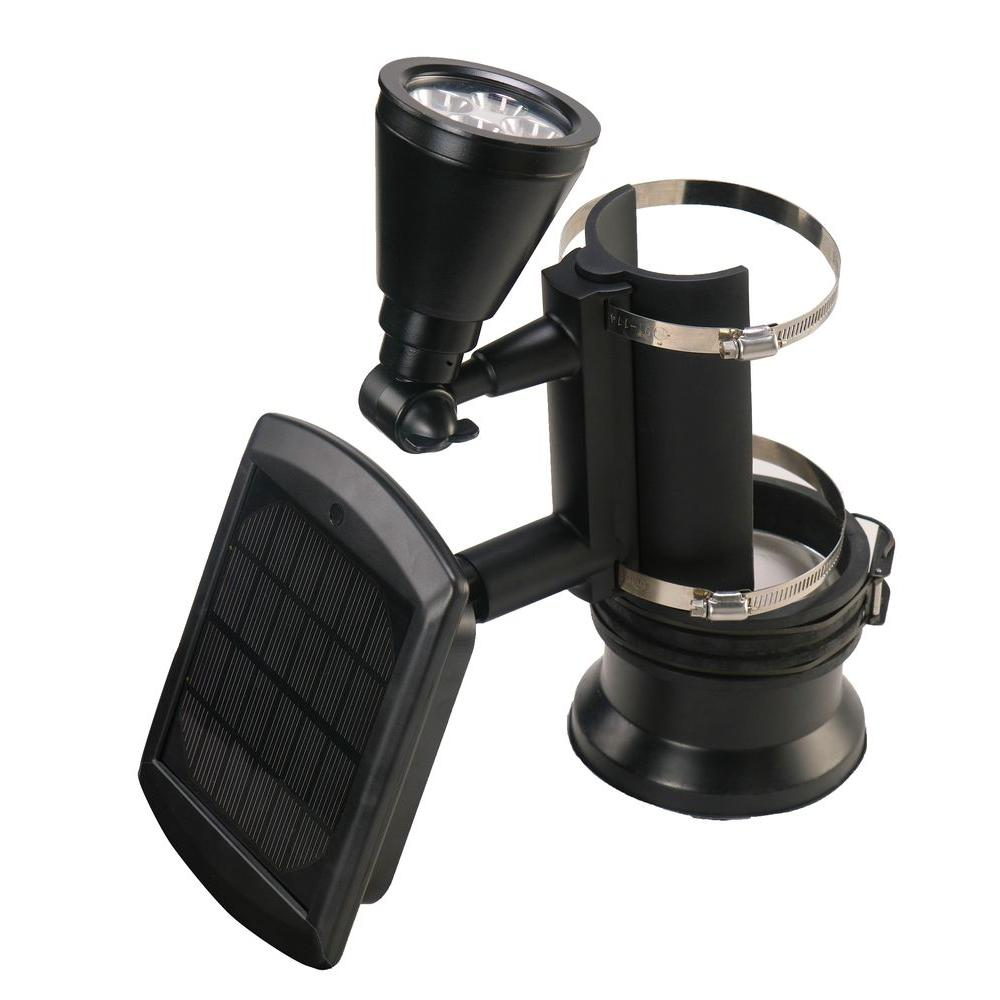Nature Black Outdoor Solar Ed 4 Led Flagpole Light