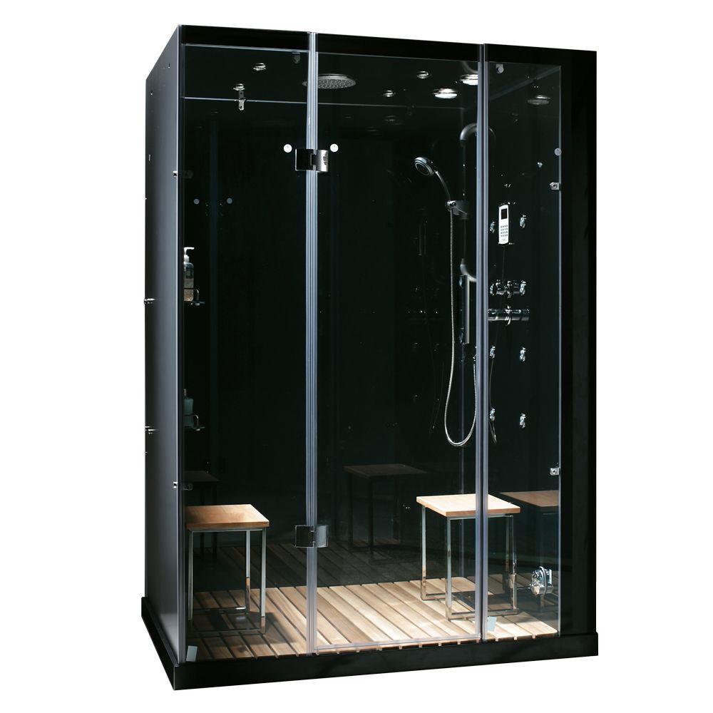 Orion Plus 59 in. x 40 in. x 86 in. Steam Shower Enclosure in Black