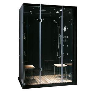 Steam Planet Orion Plus 59 inch x 40 inch x 86 inch Steam Shower Enclosure in Black by Steam Planet