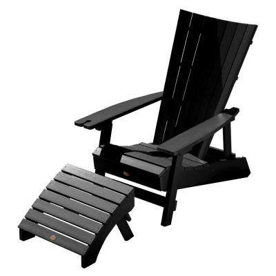 Manhattan Beach Black 2-Piece Recycled Plastic Outdoor Seating Set with Wine Glass Holder