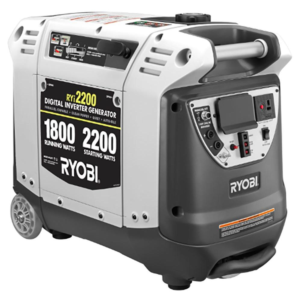 Ryobi 2,200-Watt Gray Gasoline Powered Digital Inverter Generator