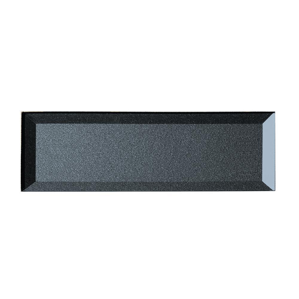 "ABOLOS Subway 3"" x 12"" Metallic Blue Gray Beveled Glossy Glass Peel & Stick Decorative Bathroom Wall Tile Backsplash Sample"