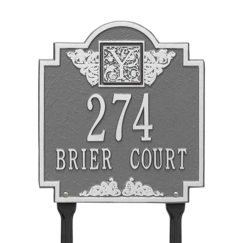 Monogram Standard Lawn Square Pewter/Silver 2-Line Address Plaque