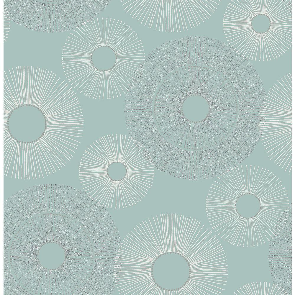 Eternity Blue Geometric Wallpaper Sample