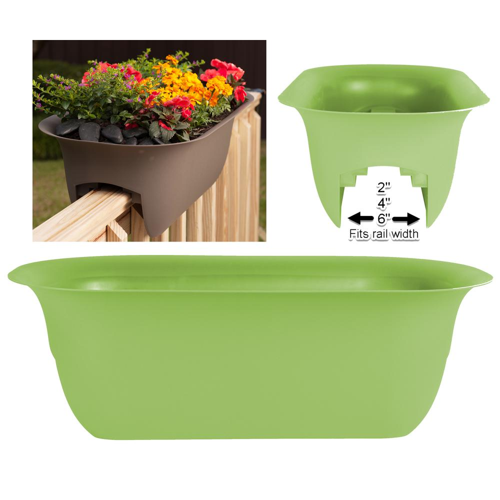 Modica 24 in. Honey Dew Plastic Deck Rail Planter