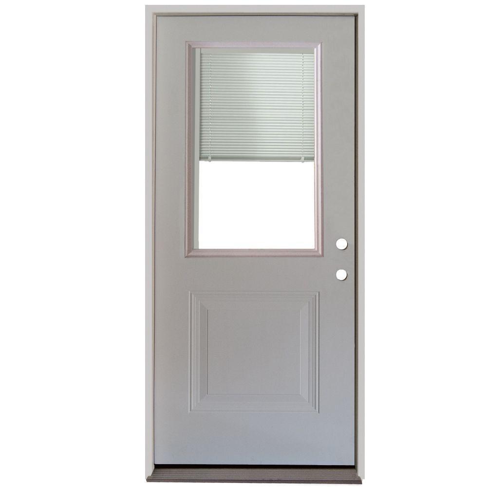 34 in. x 80 in. 1-Panel 1/2 Lite Mini-Blind Primed White