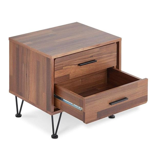 Brown Deoss Contemporary 2-Drawers Wooden Nightstand