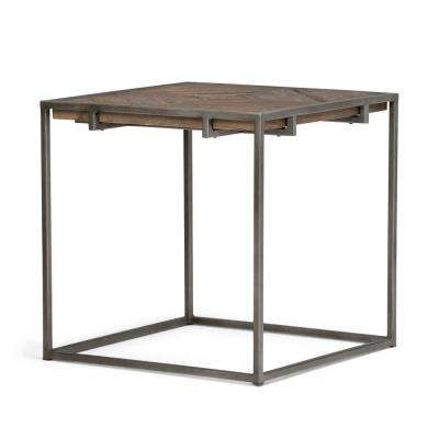 Avery Distressed Java Brown Wood Inlay End Side Table