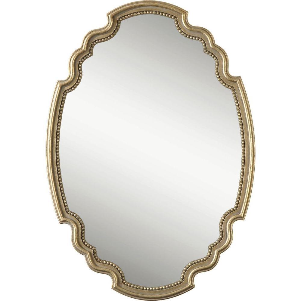 Global Direct 39.25 in. x 27.5 in. Antique Gold Leaf Framed Mirror