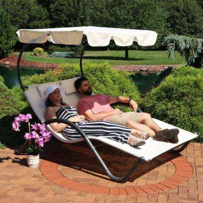 Sling Double Outdoor Chaise Lounge with Canopy Shade and Headrest Pillows
