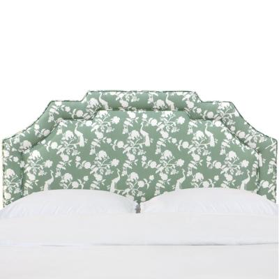 Leona Peacock Silhouette Green Full Notched Border Headboard