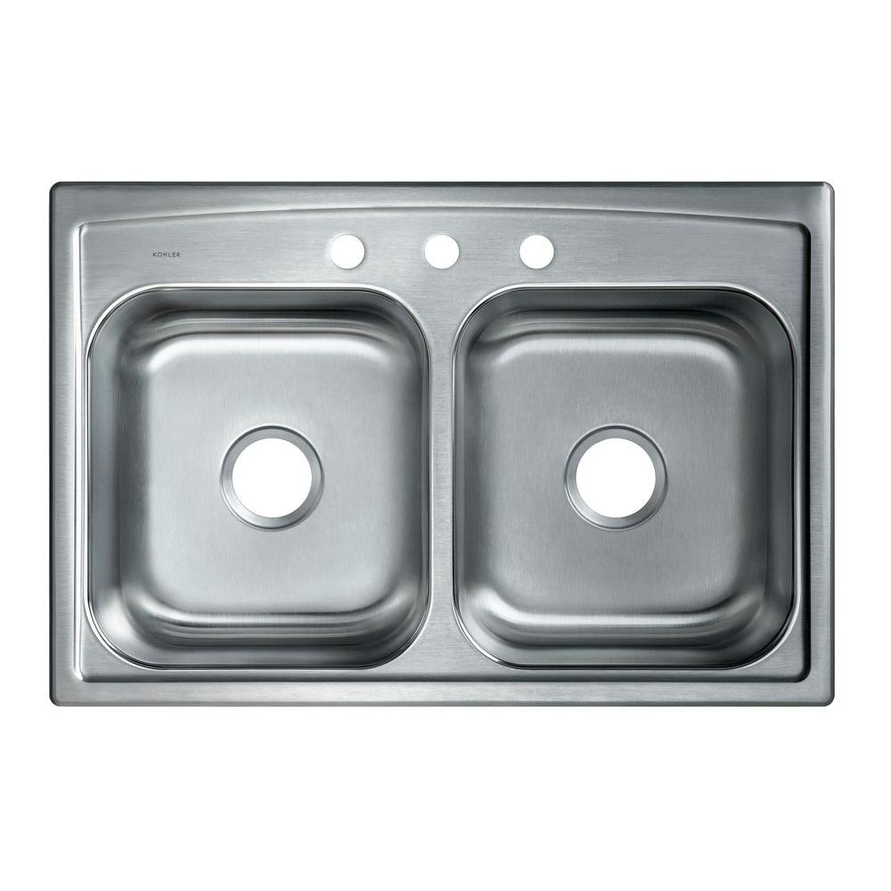 Kohler Toccata Drop In Stainless Steel 33 In 3 Hole