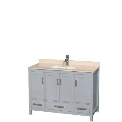 Sheffield 48 in. W x 22 in. D Vanity in Gray with Marble Vanity Top in Ivory with White Basin