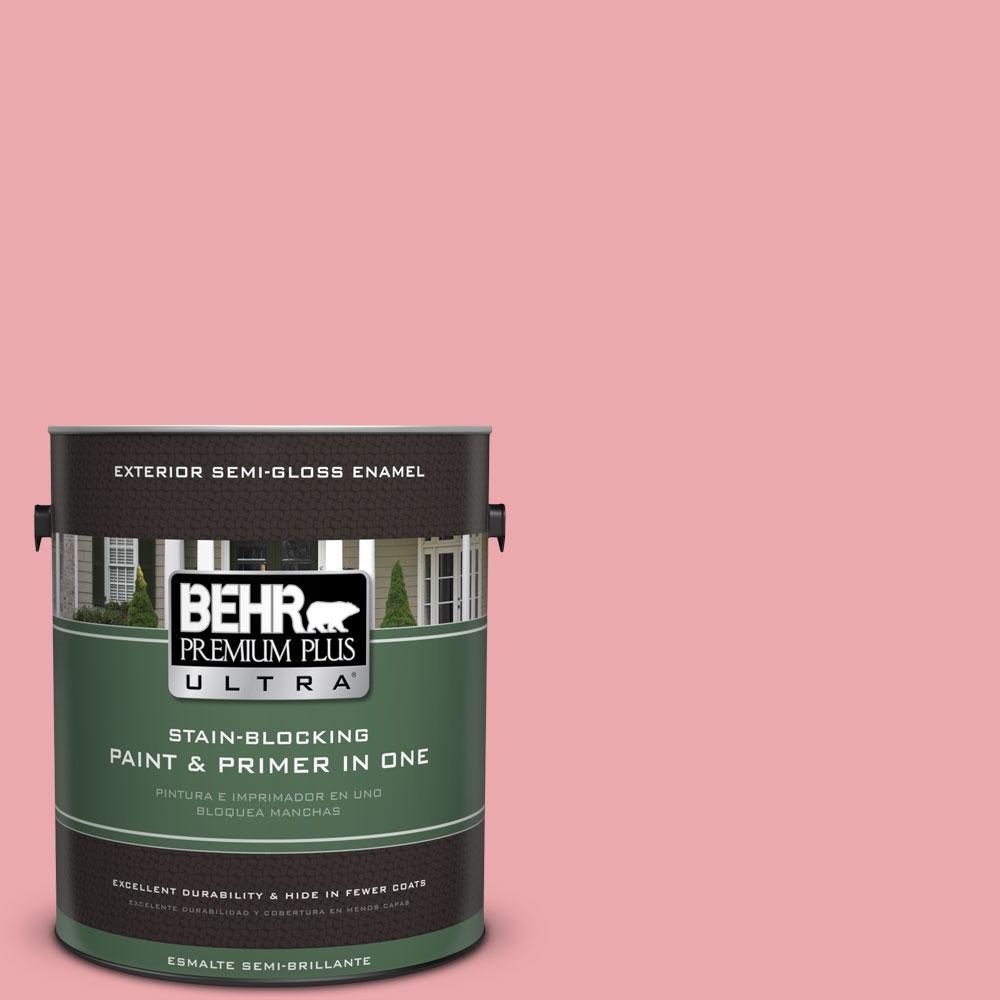 BEHR Premium Plus Ultra 1-gal. #140C-3 Hibiscus Petal Semi-Gloss Enamel Exterior Paint