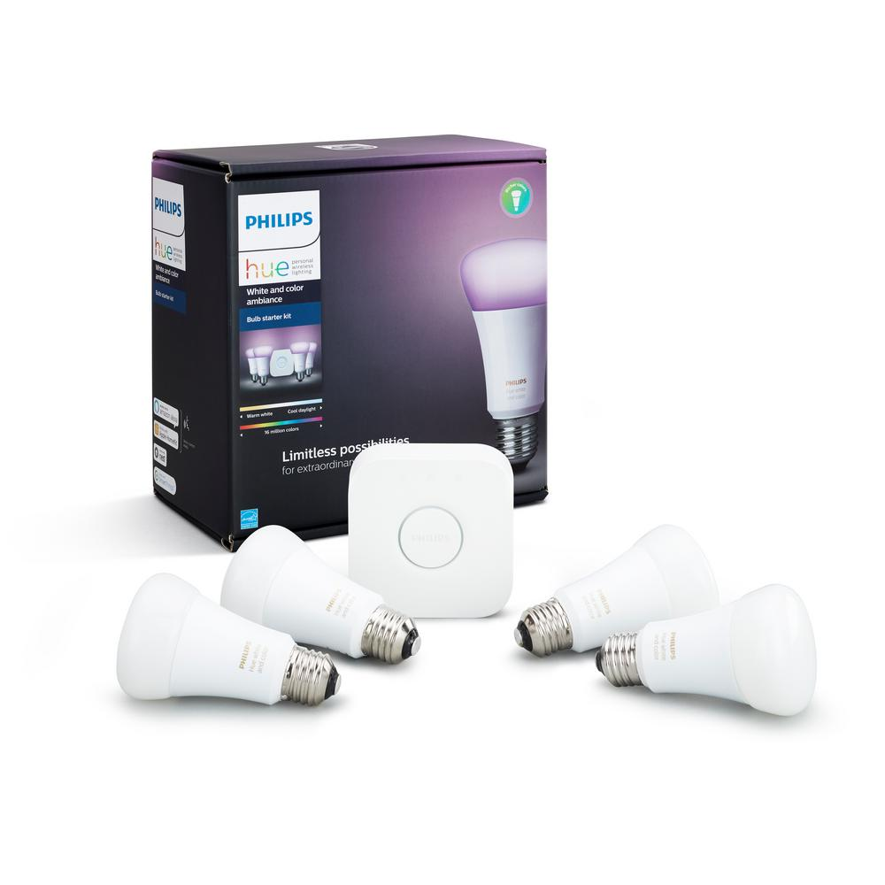 Hue White And Color Ambiance A19 Led 60w Equiv Dimmable Smart Wireless Lighting Starter Kit 4 Bulbs Bridge