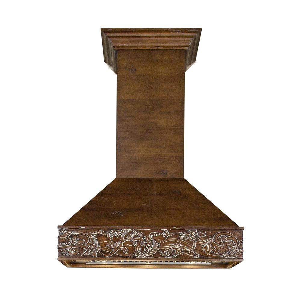 Zline Kitchen And Bath Zline 30 In. 900 Cfm Wooden Wall Mount Range Hood In Walnut, Walnut Toned Solid Birch Wood Exterior With Distressed Finish : Brushed 430 Stainless Steel Insert