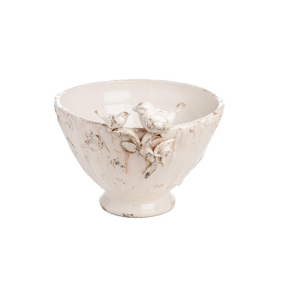 Large Ceramic Centerpiece with 2-Birds