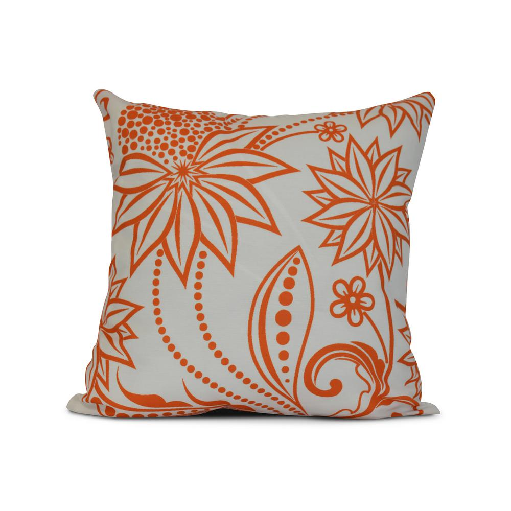 Ella Fl Print Pillow In Orange