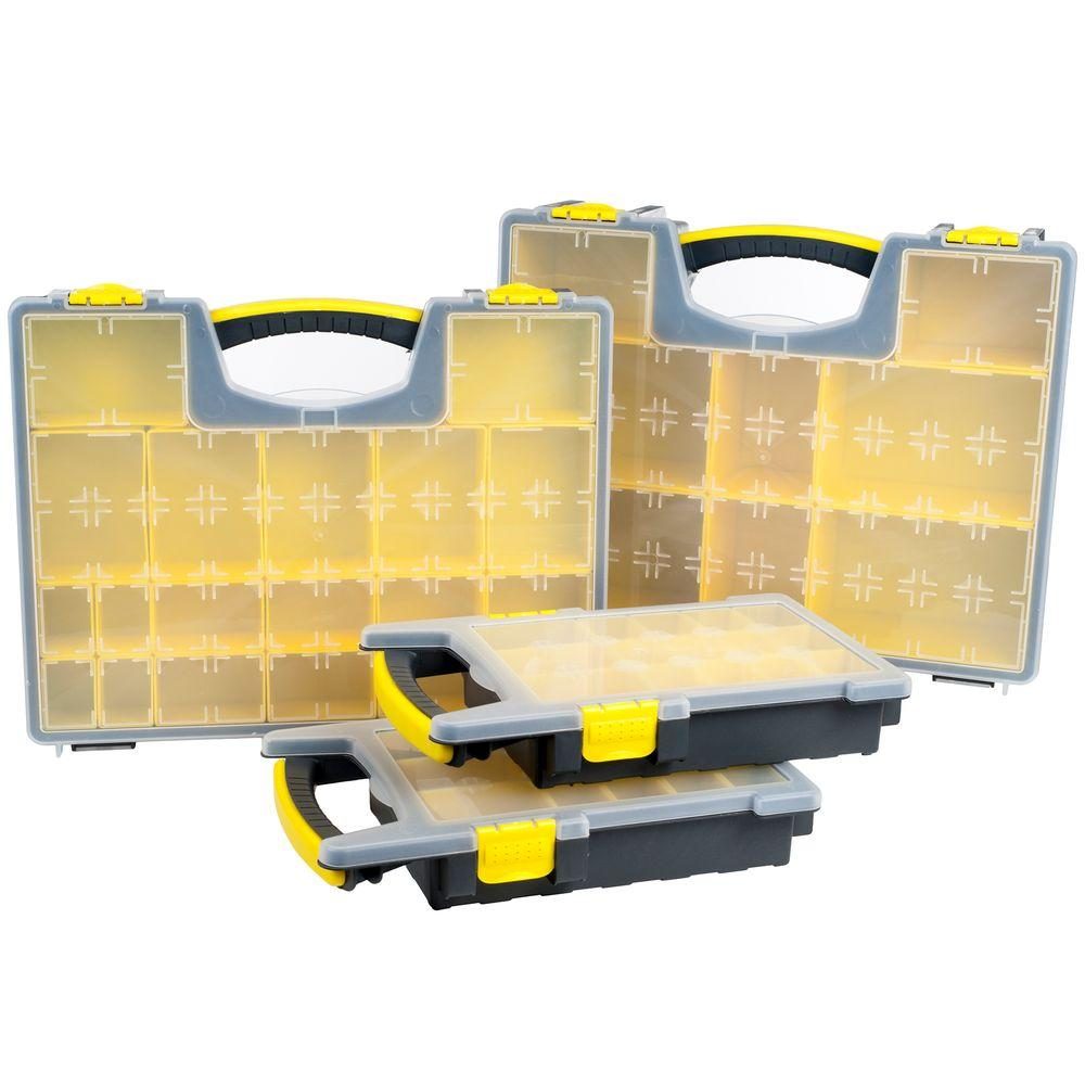 57 Compartment Parts And Crafts Portable Storage Organizer 4 Box Set
