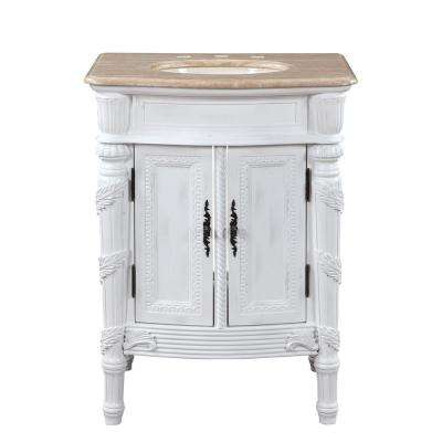 26 in. W x 22 in. D Vanity in Antique White with Stone Vanity Top in Travertine with Ivory Basin